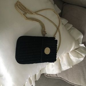 Henri Bender Black Sparkle Gold Chain Bag